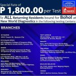 Good news! For Boholanos coming home to Bohol, you may avail of the discounted fee of RT-PCR testing.